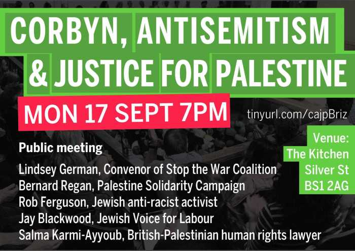 Corbyn, Antisemitism and Justice for Palestine public meeting